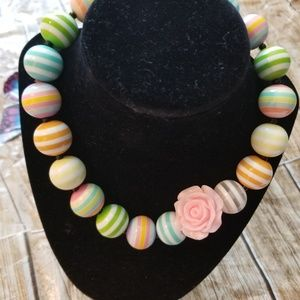New Bubble Gum Bead Necklace Striped Colored